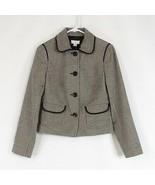 Black gray geometric 100% cotton ANN TAYLOR LOFT blazer jacket 2 - $24.99