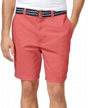 Club Room NEW Mens Twill Flat Front Belted Chino Shorts 42 Rose Pink $46 - $17.37
