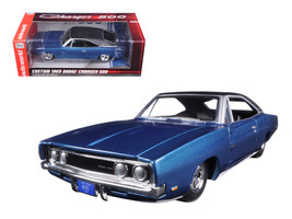 Custom 1969 Dodge Charger 500 Blue Poly 1/24 Diecast Model Car by Autoworld  - $73.13
