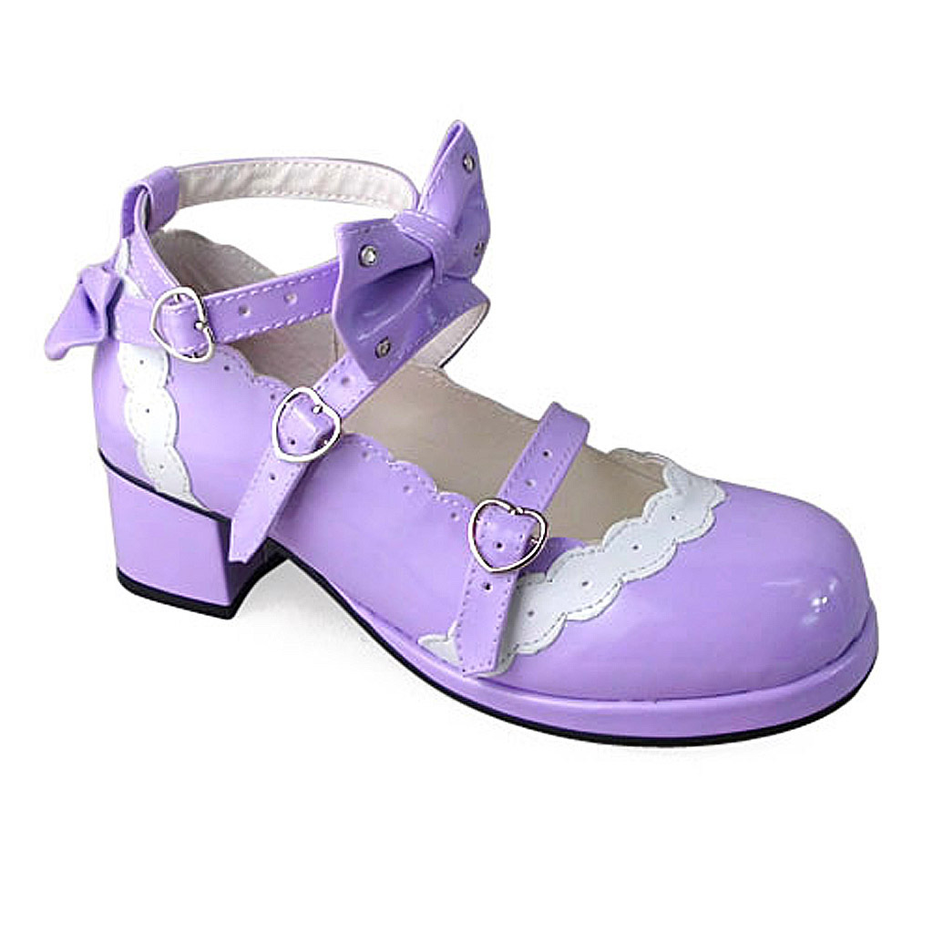 1.8 Inch Heel Ankle High Round Toe Bow Decor White Lace Purple PU Lolita Shoes image 1