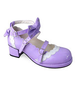 1.8 Inch Heel Ankle High Round Toe Bow Decor White Lace Purple PU Lolita Shoes - $46.34