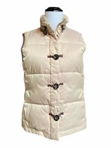 Talbots S Vest Quilted Puffer Down Feather Beige Equestrian Small  - $24.95