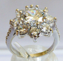 Snowflake Flower Sterling Silver .925 Round cut Clear CZ Ring size 6.5 - $64.35