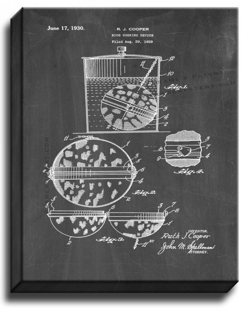 Primary image for Rice-cooking Device Patent Print Chalkboard on Canvas