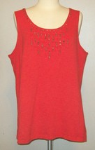 by Chico's Size 3 Womens XL X-Large Orange Slub Tank Beaded Shirt Top - $14.75