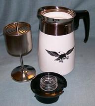 Vtg Corning EARLY AMERICAN Stove Top 6 Cup Coffee Pot/Percolator Black E... - $49.95