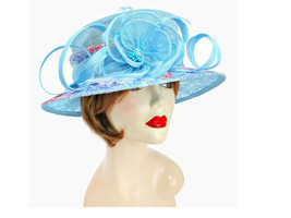 Church Kentucky Derby Wedding Sinamay Dress Hat Floral Printed Blue 5564 - $51.00