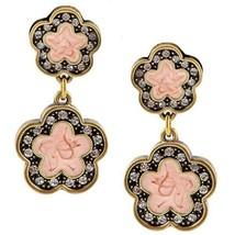 """HEIDI DAUS """"Easy Does It"""" Crystal & Light Pink Flower Enamel Dangle Earr... - $68.31"""