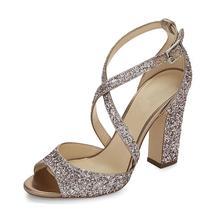 Women's Glitter / Leatherette Summer Club Shoes Sandals Chunky Heel Peep... - $81.50