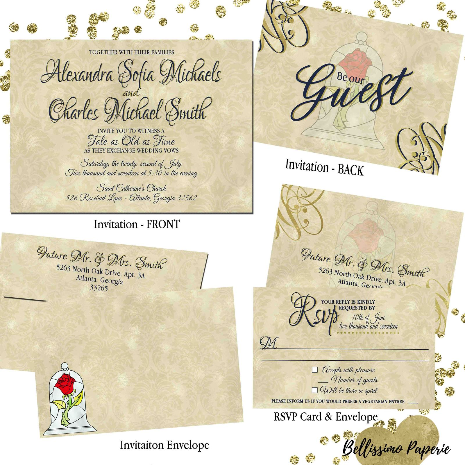 Merveilleux Beauty And The Beast Wedding Invitation Set: And 50 Similar Items