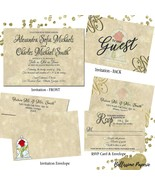 Beauty and the Beast Wedding invitation Set: RSVP Envelope Navy Gold Custom - $2.40