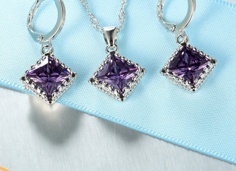 Top Quality Women Amethyst 925 Sterling Silver Pendant Necklace Earrings