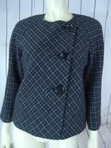 ANNE KLEIN Blazer 10P Gray White Plaid Lambswool Diagonal Button Frt RET... - $46.73