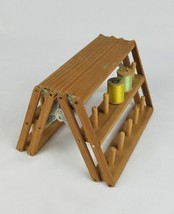 Vintage collapsible wooden spool holder with 16 threads wood spools sewing - $32.62