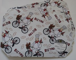 Fabric Placemats 4pc set with Fat Wine Chef on Bicycle, Cream Red Bistro - $15.49