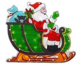 "Sienna 17"" Lighted Shimmering Santa in Sleigh Christmas Window Silhouette - $15.58"