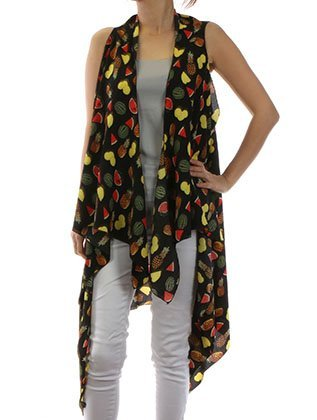 Tropical Fruit Print Cover Up Vest Beach Wrap (black)