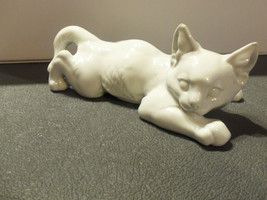 Rosenthal Germany Decorative Porcelain Crouching White Cat Figurine by T... - $89.05