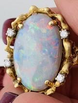 14k Gelbgold Estate Natürlich Opalring & 0.30 Dtw Diamanten - $1,169.75