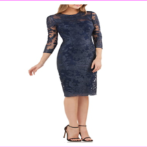 Js Collections Women's Jewel Neck Hidden Back Zip Embroidered Lace Sheath Dress - $125.30