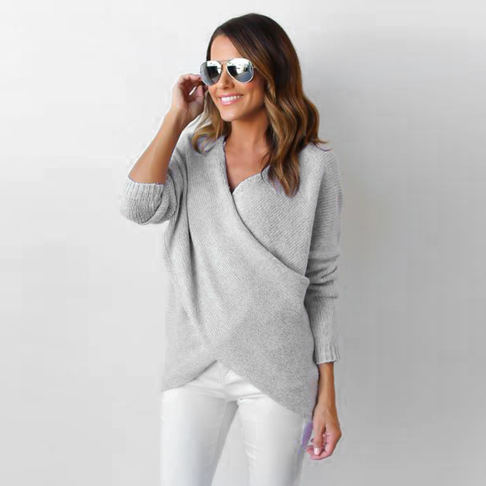 autumn sweater women V-Neck Cross Long Sleeve Loose Knitted Sweater Casual Jump