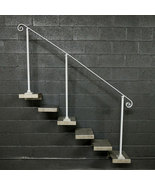 7 Steel Stair Railing Handrail | Base Plate Posts | Iron Grab Rail - $200.00