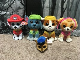 Ty Beanie Nickelodeon Plush Pup Lot of 5 Rubble Skye Marshall Rocky Chase - $11.89