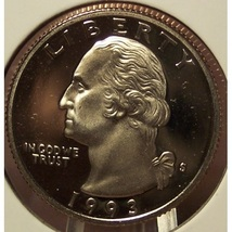 1993-S DCAM Clad Proof Washington Quarter PF65DC #881 - $3.19