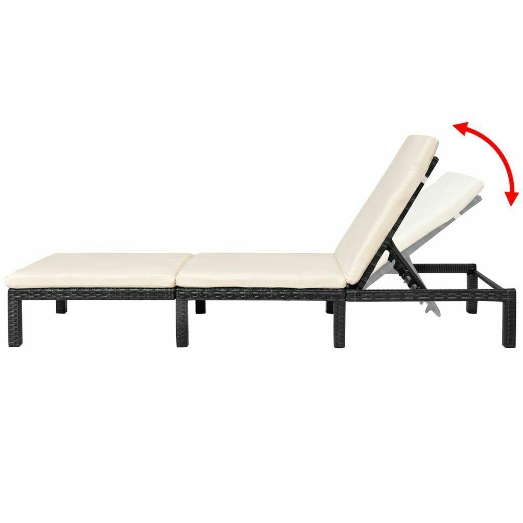 vidaXL Sun Lounger Poly Rattan Wicker Black Patio Outdoor Garden Recliner Bed