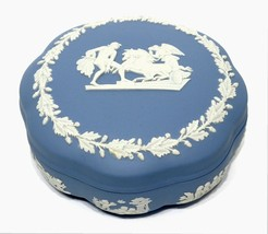 Wedgwood Blue Jasperware Lidded Powder Candy Trinket Box Ulysses Chariot... - $14.33