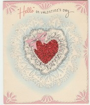Vintage Valentine Card Red Glitter Heart 1940's Forget Me Not - $6.92