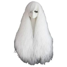 New Fashion 70CM Long Wild-Curl Fluffy Healthy Cosplay Wigs White Full Hair Wigs