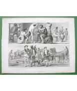 GREECE People's Costume Trades Sculptor Arms Maker Farmer - Antique Print - $12.15