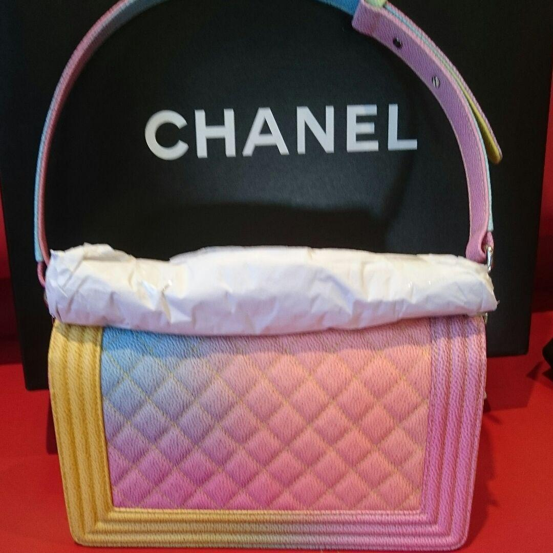 7ab1d66b4ca4 Chanel Boy Shoulder Bag Rainbow Pouch Woman Auth New Never Used Rare M Size