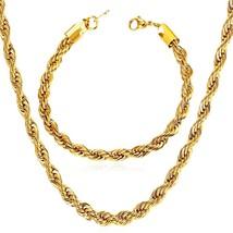 U7 18K Gold Plated 3mm Wide Twisted Rope Chain Bracelet Necklace Men Women Set - $48.82