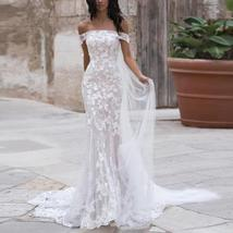 Sexy Off Shoulder Embroidered Lace Mermaid Wedding Gown with Court Train image 6