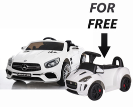 Electric Car 12V Mercedes Sl65 For Kids LED Lights RC White+ Push Car El... - $569.99