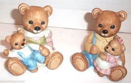 HOMCO 1444 Mommy with Boy & Daddy with Girl Bears Nursery Figures Mom Dad - $9.49