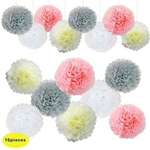 Pink Grey Wedding Decorations Tissue Paper Flowers Pom Poms Balls for Br... - £10.56 GBP