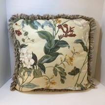 "Garden Images 20"" Pillow Parchment Williamsburg Waverly Cotton Flowers - $29.02"