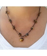Fair Trade Tigers Eye Beaded Waxed Cotton Pendant NECKLACE Thai Jewelry - $7.65