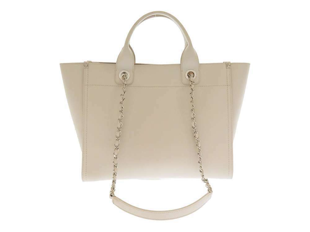 CHANEL Tote Bag Grained Calf Leather Off White CC Studs A57069 Italy Authentic