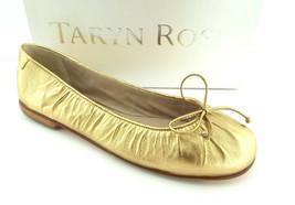 New TARYN ROSE Size 8 Gold Italian Leather Ballet Flats Shoes 38 1/2 NIB - $139.00