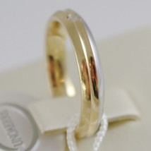 18K YELLOW WHITE GOLD WEDDING BAND UNOAERRE RING 4 MM WITH DIAMOND MADE IN ITALY image 2