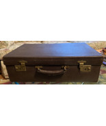 Finnigan's Of Manchester Real Brown Pebbled Leather Suitcase Luggage Vin... - $222.74