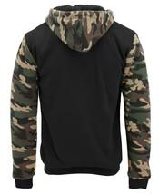 MX USA Men's Army Camo Zip Up Sherpa Hoodie Fleece Hunting Sweater Jacket - L image 2