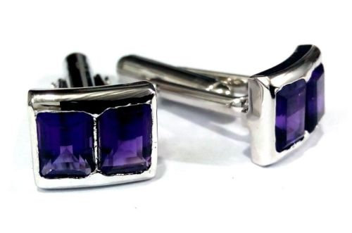 925 Sterling Silver Natural Fine Quality Amethyst Gemstone Artistic Design Men's