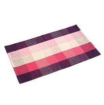 PANDA SUPERSTORE Purple Plaid Cotton Non-Slip Bath Rug Mat Living Room Mat Doorm
