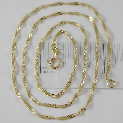 SOLID 18K YELLOW GOLD SINGAPORE BRAID ROPE CHAIN 16 INCHES, 2 MM MADE IN ITALY