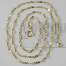 SOLID 18K YELLOW GOLD SINGAPORE BRAID ROPE CHAIN 16 INCHES, 2 MM MADE IN ITALY  image 1